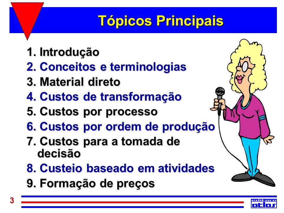 3 Tópicos Principais 1. Introdução 2. Conceitos e terminologias 3. Material direto 4. Custos de transformação 5. Custos por processo 6. Custos por ord