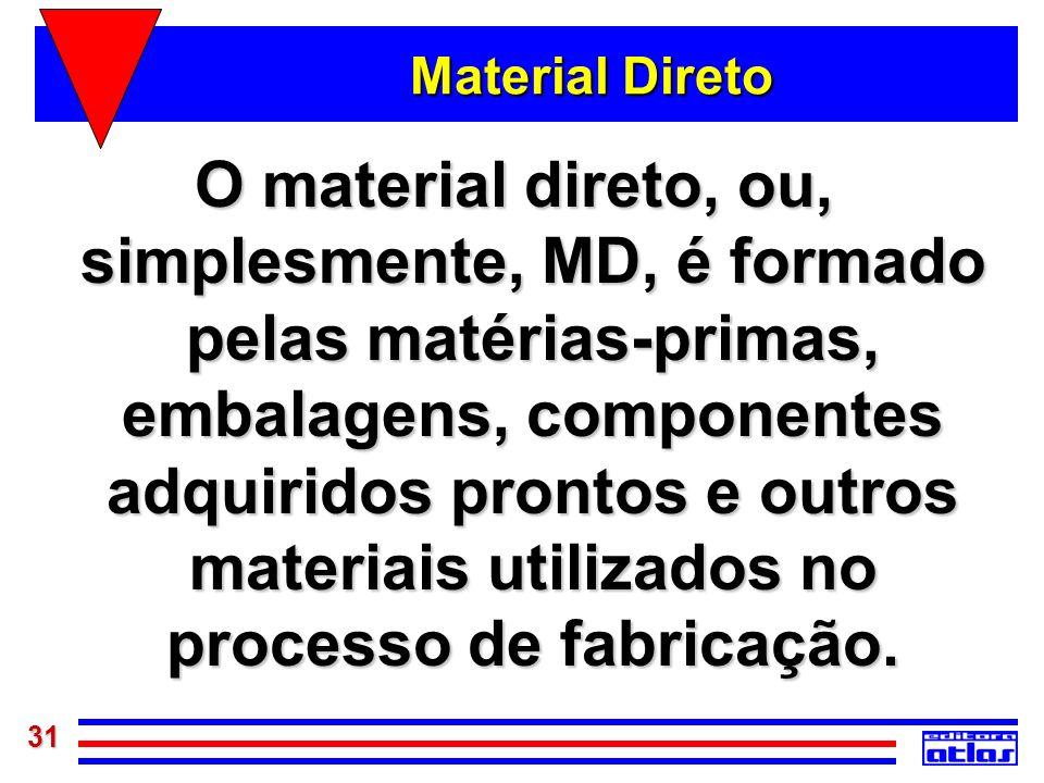 31 Material Direto O material direto, ou, simplesmente, MD, é formado pelas matérias-primas, embalagens, componentes adquiridos prontos e outros mater