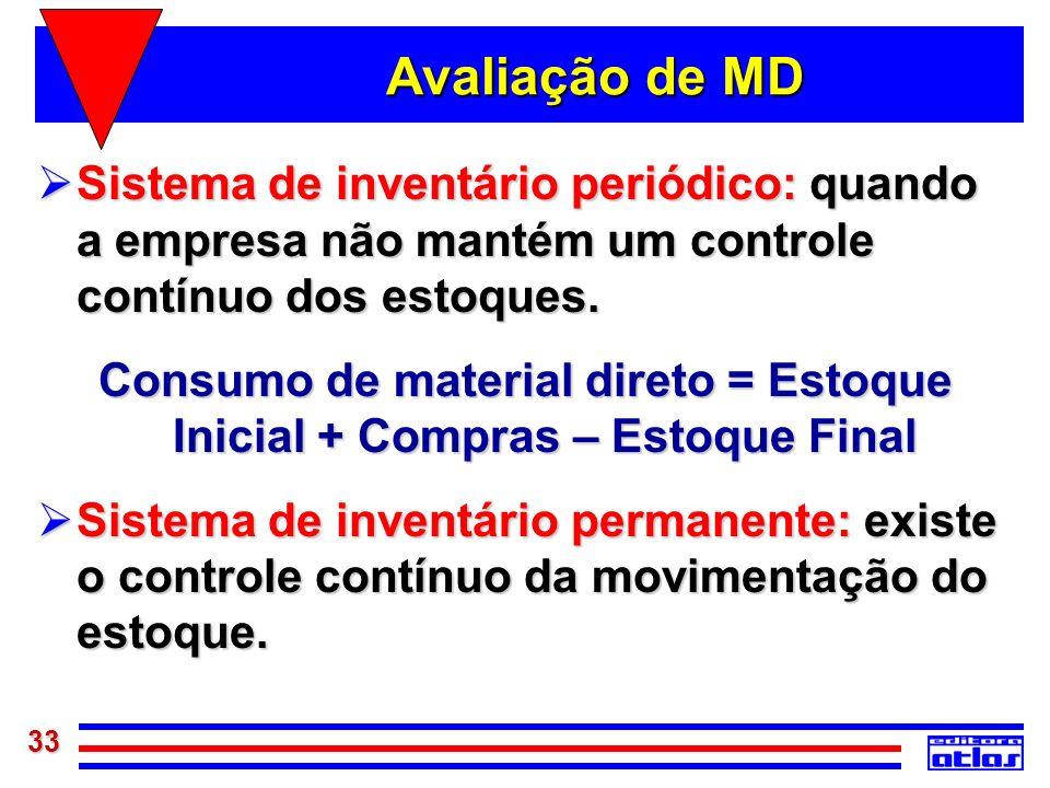 33 Avaliação de MD Sistema de inventário periódico: quando a empresa não mantém um controle contínuo dos estoques. Sistema de inventário periódico: qu