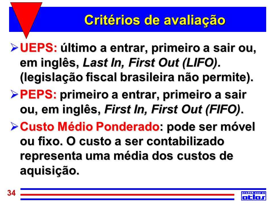 34 Critérios de avaliação UEPS: último a entrar, primeiro a sair ou, em inglês, Last In, First Out (LIFO). (legislação fiscal brasileira não permite).