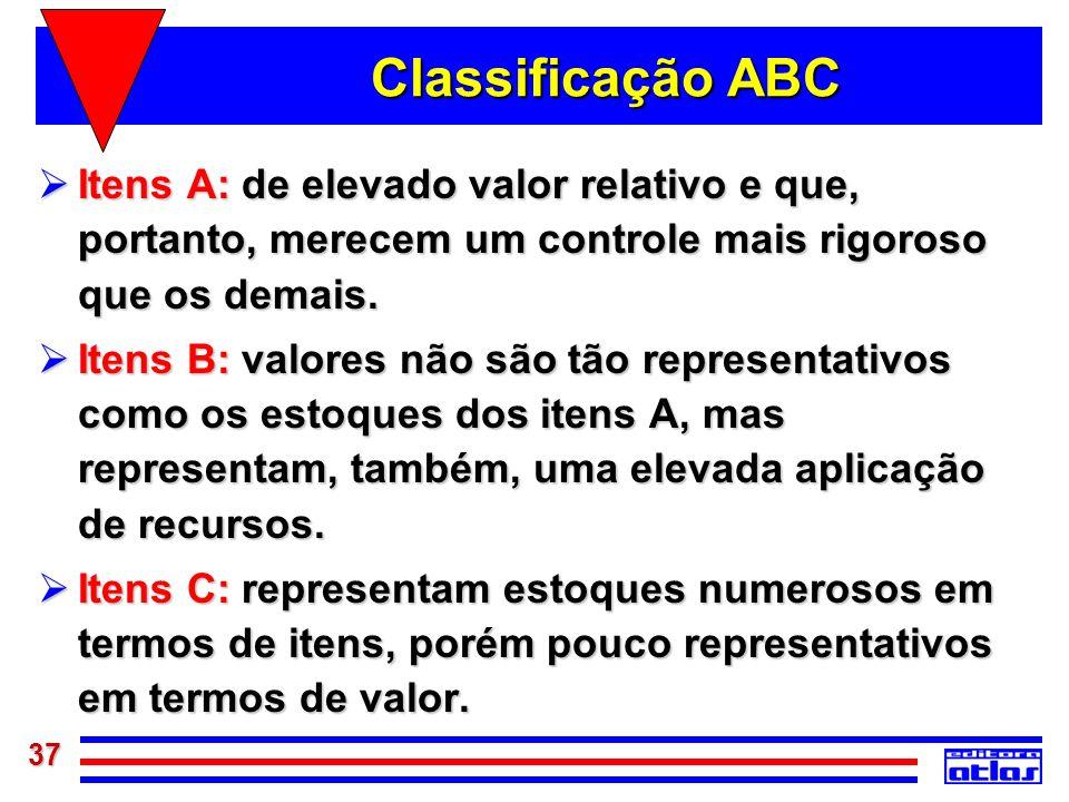 37 Classificação ABC Itens A: de elevado valor relativo e que, portanto, merecem um controle mais rigoroso que os demais. Itens A: de elevado valor re
