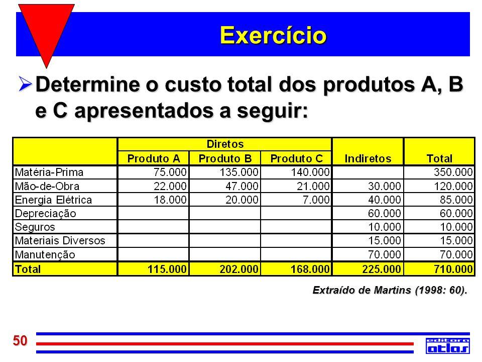 50 Exercício Determine o custo total dos produtos A, B e C apresentados a seguir: Determine o custo total dos produtos A, B e C apresentados a seguir: