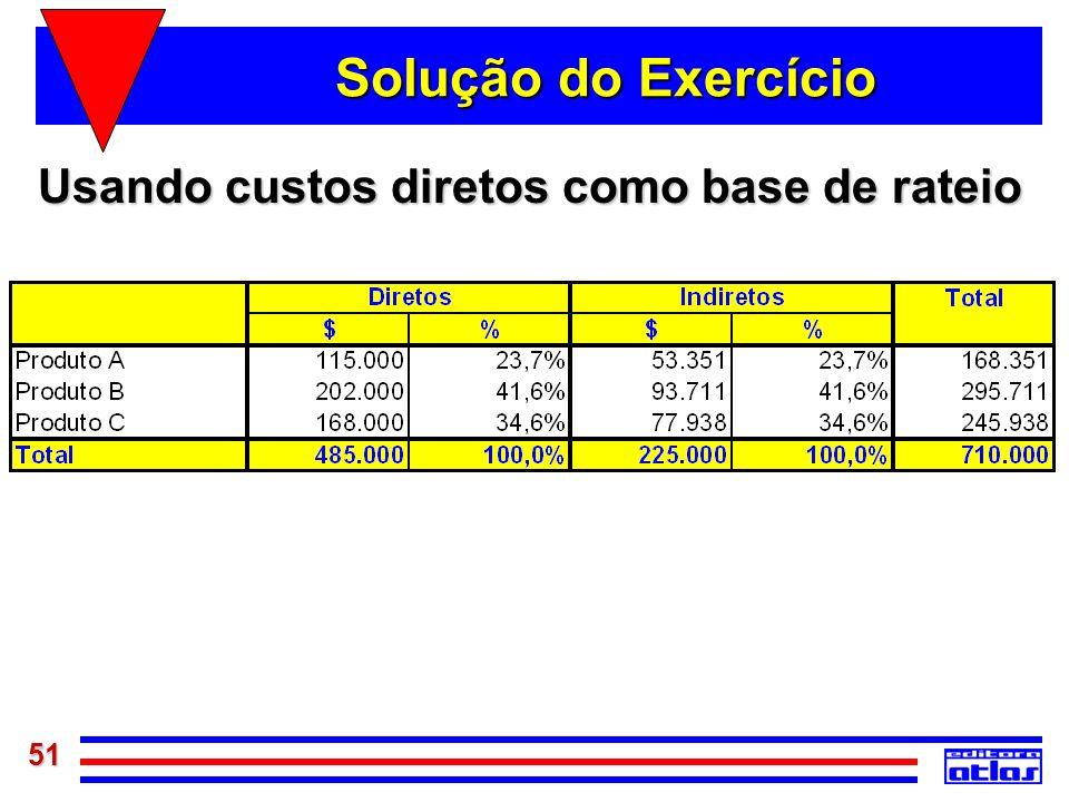 51 Solução do Exercício Usando custos diretos como base de rateio