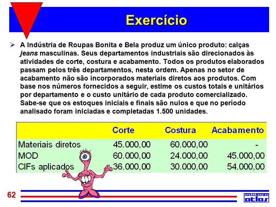 62 Exercício A Indústria de Roupas Bonita e Bela produz um único produto: calças jeans masculinas. Seus departamentos industriais são direcionados às