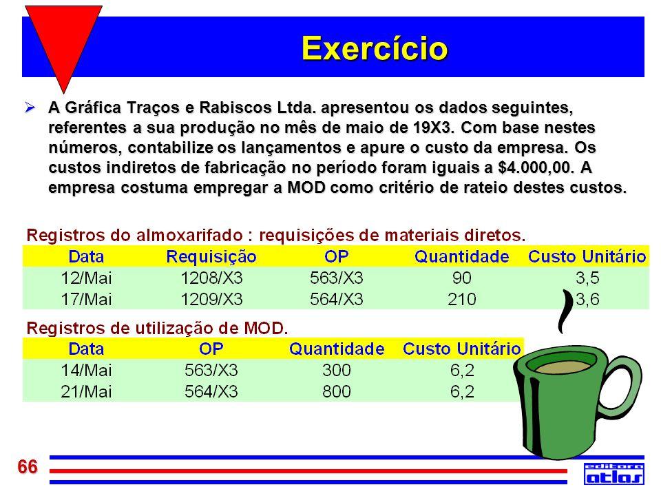 66 Exercício A Gráfica Traços e Rabiscos Ltda. apresentou os dados seguintes, referentes a sua produção no mês de maio de 19X3. Com base nestes número