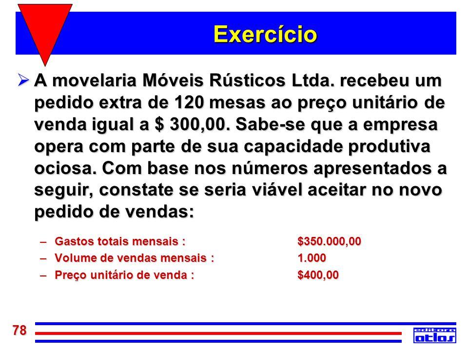 78 Exercício A movelaria Móveis Rústicos Ltda. recebeu um pedido extra de 120 mesas ao preço unitário de venda igual a $ 300,00. Sabe-se que a empresa