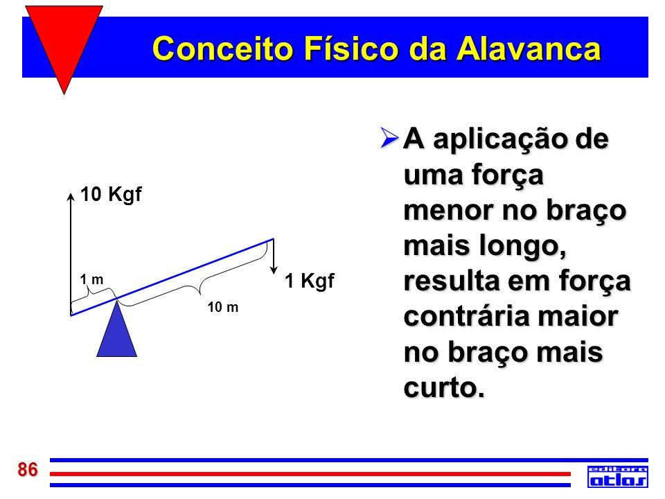 86 Conceito Físico da Alavanca A aplicação de uma força menor no braço mais longo, resulta em força contrária maior no braço mais curto. A aplicação d