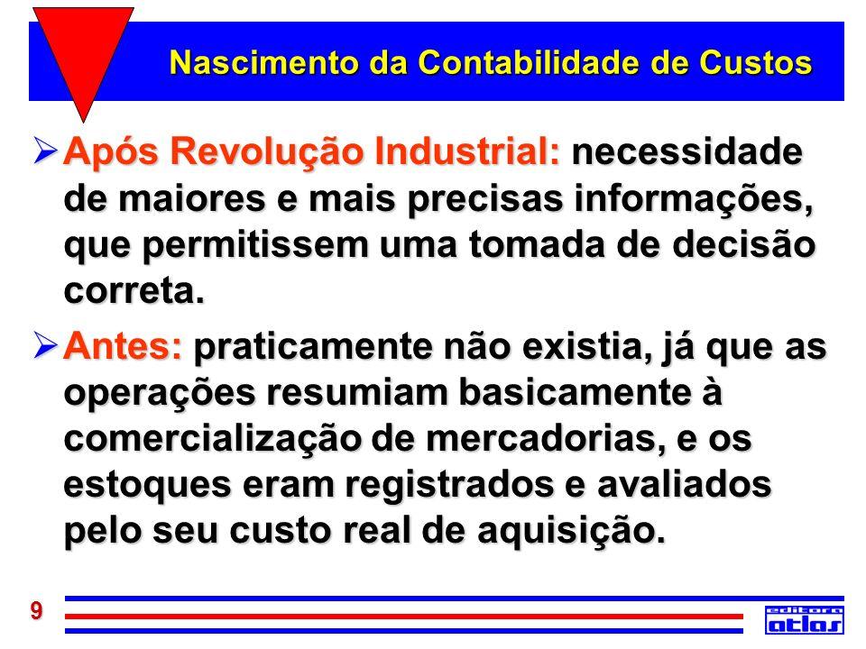 9 Nascimento da Contabilidade de Custos Após Revolução Industrial: necessidade de maiores e mais precisas informações, que permitissem uma tomada de d
