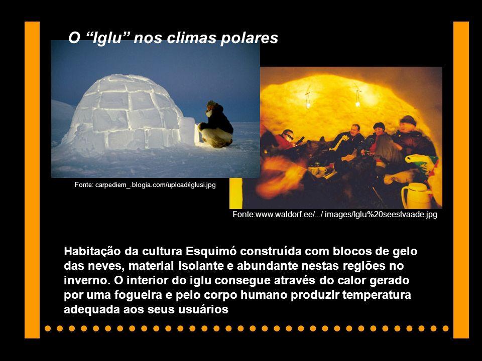 Fonte:www.waldorf.ee/.../ images/Iglu%20seestvaade.jpg Fonte: carpediem_.blogia.com/upload/iglusi.jpg Habitação da cultura Esquimó construída com bloc