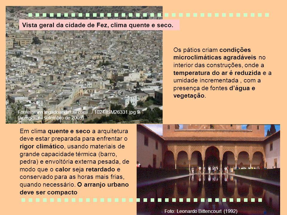 Vista geral da cidade de Fez, clima quente e seco. Fonte: www.legadoandalusi.com/.../ 1024/ISM26331.jpg 9 (acesso em setembro de 2005) Em clima quente