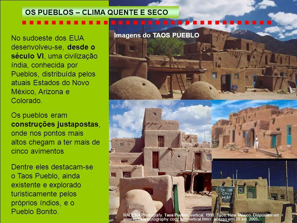 No sudoeste dos EUA desenvolveu-se, desde o século VI, uma civilização índia, conhecida por Pueblos, distribuída pelos atuais Estados do Novo México,