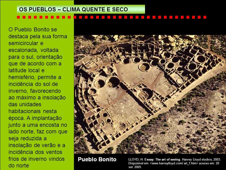OS PUEBLOS – CLIMA QUENTE E SECO O Pueblo Bonito se destaca pela sua forma semicircular e escalonada, voltada para o sul, orientação que de acordo com