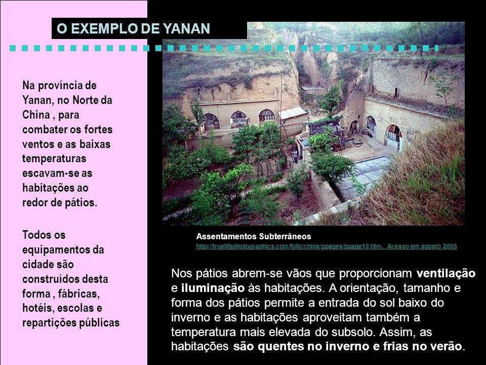 Assentamentos Subterrâneos http://truelifephotographics.com/folio/china/ppages/ppage19.htm. Acesso em agosto 2005 Na província de Yanan, no Norte da C