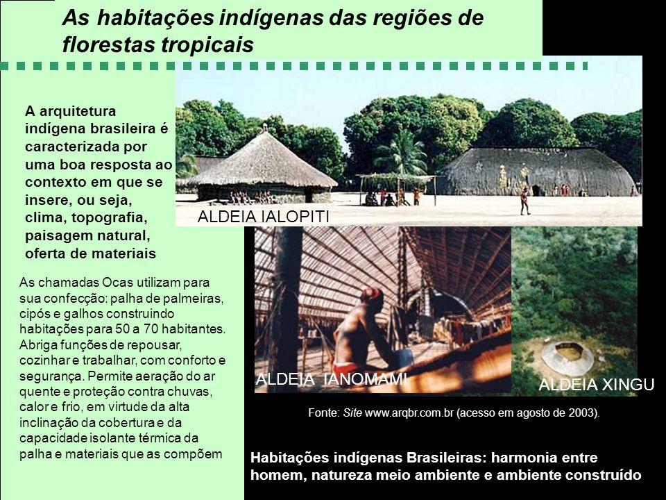 Habitações indígenas Brasileiras: harmonia entre homem, natureza meio ambiente e ambiente construído A arquitetura indígena brasileira é caracterizada