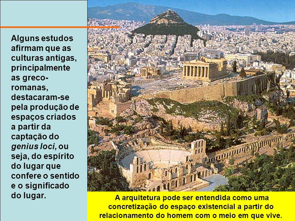 Alguns estudos afirmam que as culturas antigas, principalmente as greco- romanas, destacaram-se pela produção de espaços criados a partir da captação