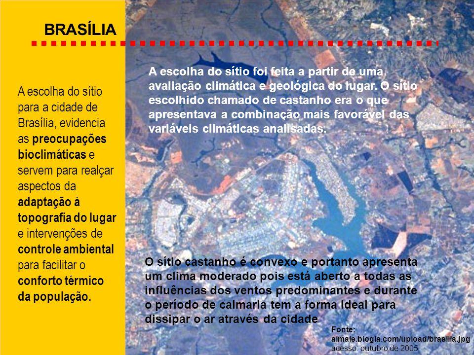 BRASÍLIA A escolha do sítio para a cidade de Brasília, evidencia as preocupações bioclimáticas e servem para realçar aspectos da adaptação à topografi