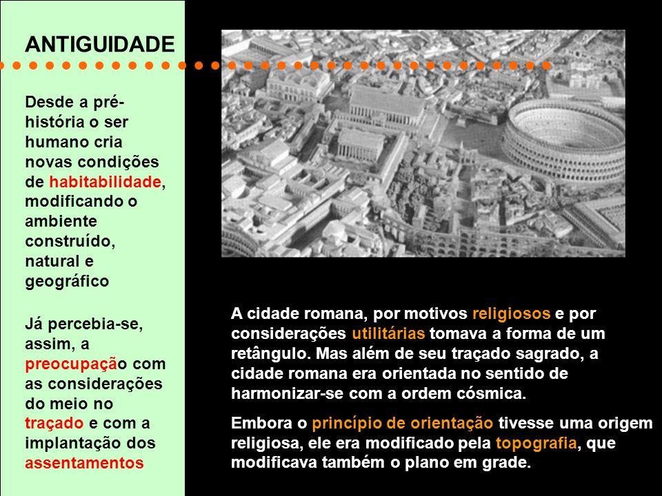 Desde a pré- história o ser humano cria novas condições de habitabilidade, modificando o ambiente construído, natural e geográfico A cidade romana, po