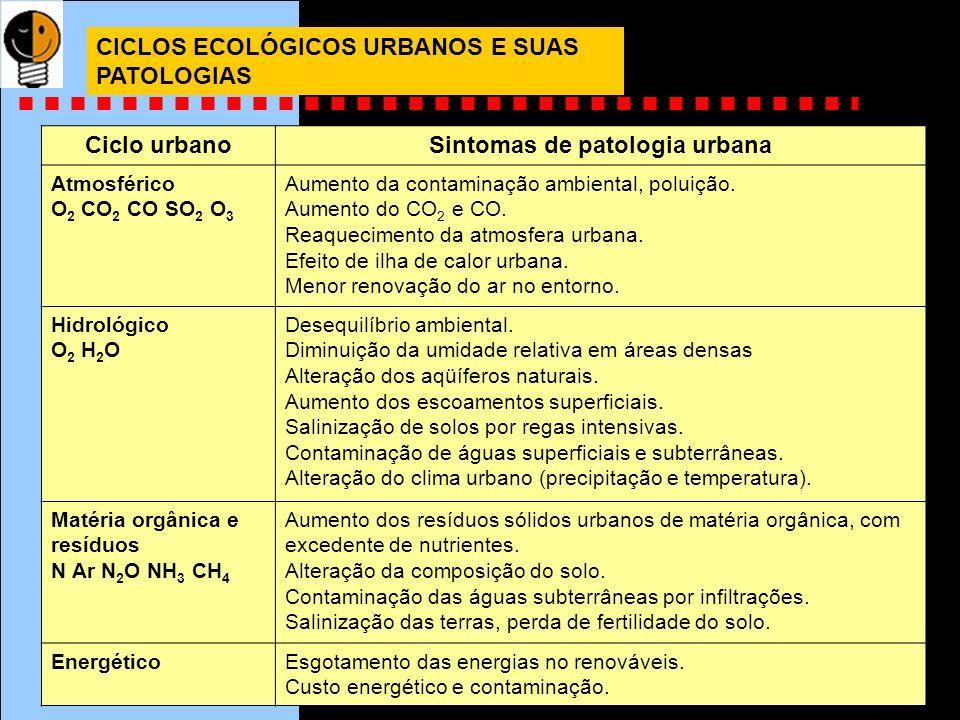 CICLOS ECOLÓGICOS URBANOS E SUAS PATOLOGIAS Ciclo urbanoSintomas de patologia urbana Atmosférico O 2 CO 2 CO SO 2 O 3 Aumento da contaminação ambienta