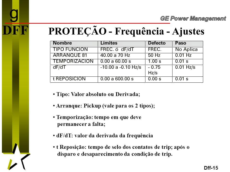 15 DFF PROTEÇÃO - Frequência - Ajustes Dff-15 Tipo: Valor absoluto ou Derivada; Arranque: Pickup (vale para os 2 tipos); Temporização: tempo em que de