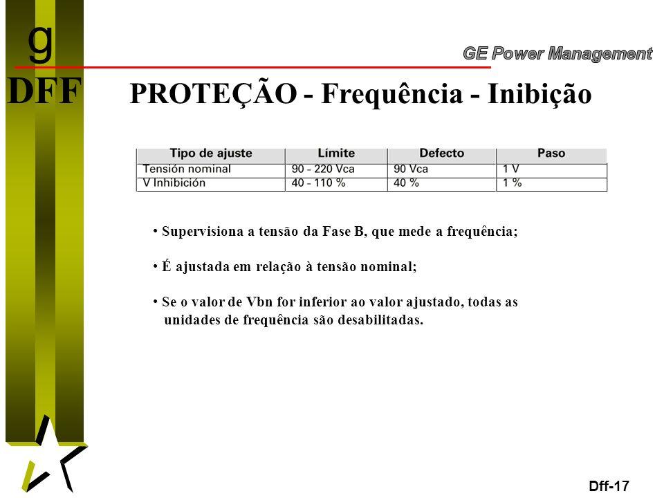 17 DFF PROTEÇÃO - Frequência - Inibição Dff-17 Supervisiona a tensão da Fase B, que mede a frequência; É ajustada em relação à tensão nominal; Se o va
