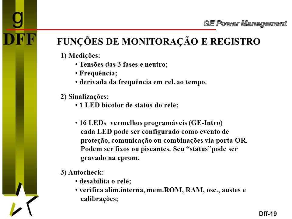 19 Dff-19 DFF FUNÇÕES DE MONITORAÇÃO E REGISTRO 1) Medições: Tensões das 3 fases e neutro; Frequência; derivada da frequência em rel. ao tempo. 2) Sin