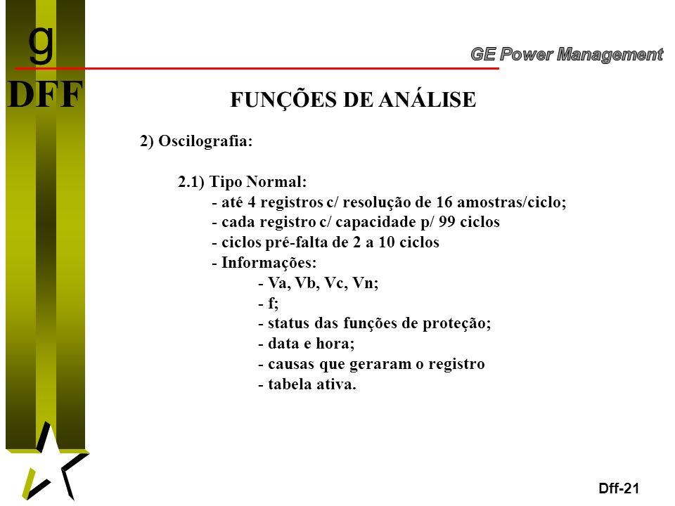21 Dff-21 DFF FUNÇÕES DE ANÁLISE 2) Oscilografia: 2.1) Tipo Normal: - até 4 registros c/ resolução de 16 amostras/ciclo; - cada registro c/ capacidade