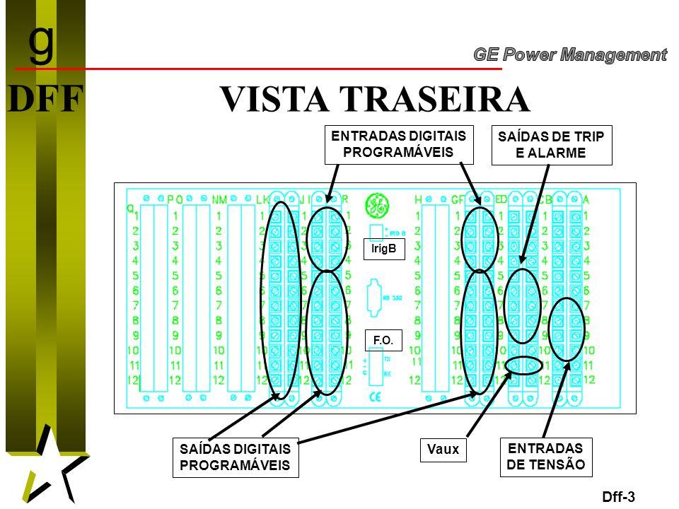 3 DFF VISTA TRASEIRA Dff-3 SAÍDAS DIGITAIS PROGRAMÁVEIS ENTRADAS DIGITAIS PROGRAMÁVEIS SAÍDAS DE TRIP E ALARME ENTRADAS DE TENSÃO Vaux IrigB F.O. g