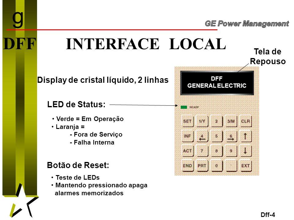 4 DFF INTERFACE LOCAL Display de cristal líquido, 2 linhas LED de Status: Verde = Em Operação Laranja = - Fora de Serviço - Falha Interna Dff-4 Botão