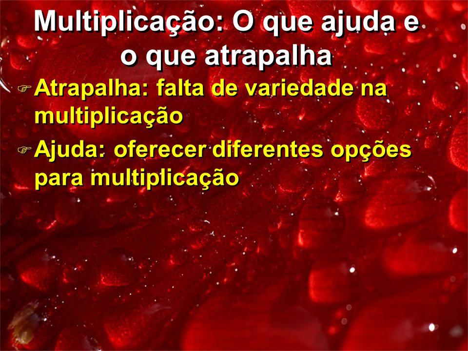 F Atrapalha: falta de variedade na multiplicação F Ajuda: oferecer diferentes opções para multiplicação F Atrapalha: falta de variedade na multiplicaç