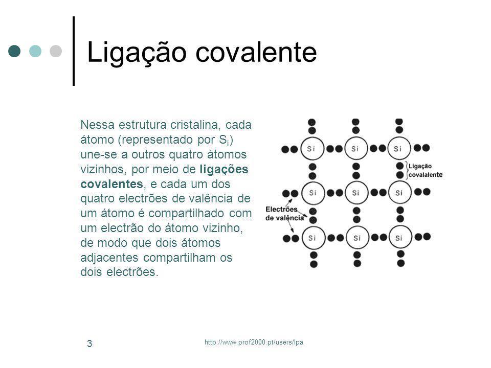 http://www.prof2000.pt/users/lpa 3 Ligação covalente Nessa estrutura cristalina, cada átomo (representado por S i ) une-se a outros quatro átomos vizi