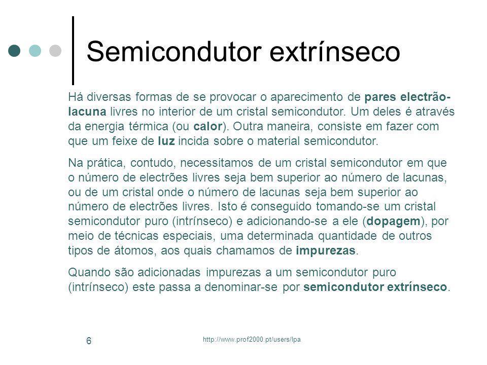 http://www.prof2000.pt/users/lpa 7 Processo de dopagem Quando são adicionadas impurezas a um semicondutor puro (intrínseco), este passa a ser um semicondutor extrínseco.