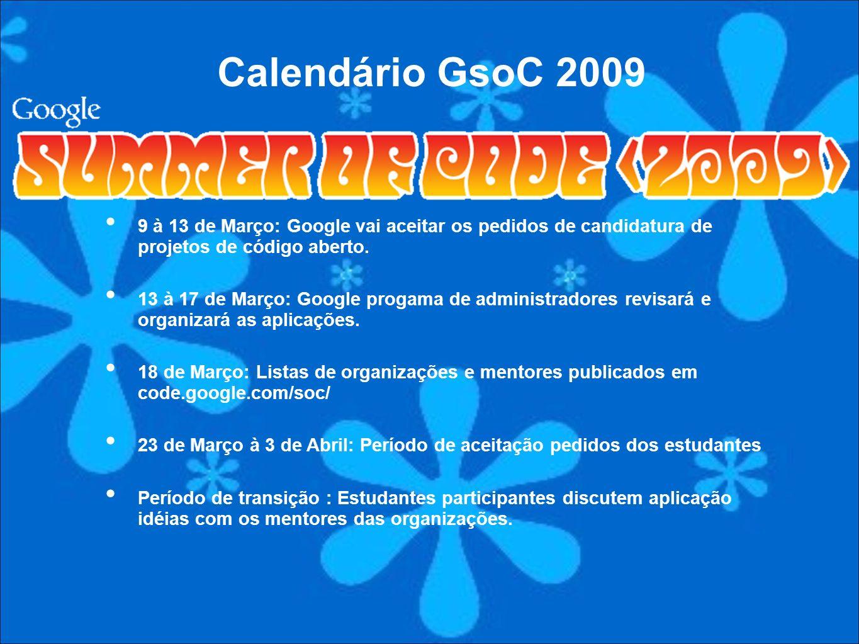 9 à 13 de Março: Google vai aceitar os pedidos de candidatura de projetos de código aberto. 13 à 17 de Março: Google progama de administradores revisa
