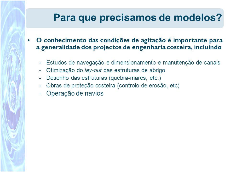 Para que precisamos de modelos? O conhecimento das condições de agitação é importante para a generalidade dos projectos de engenharia costeira, inclui
