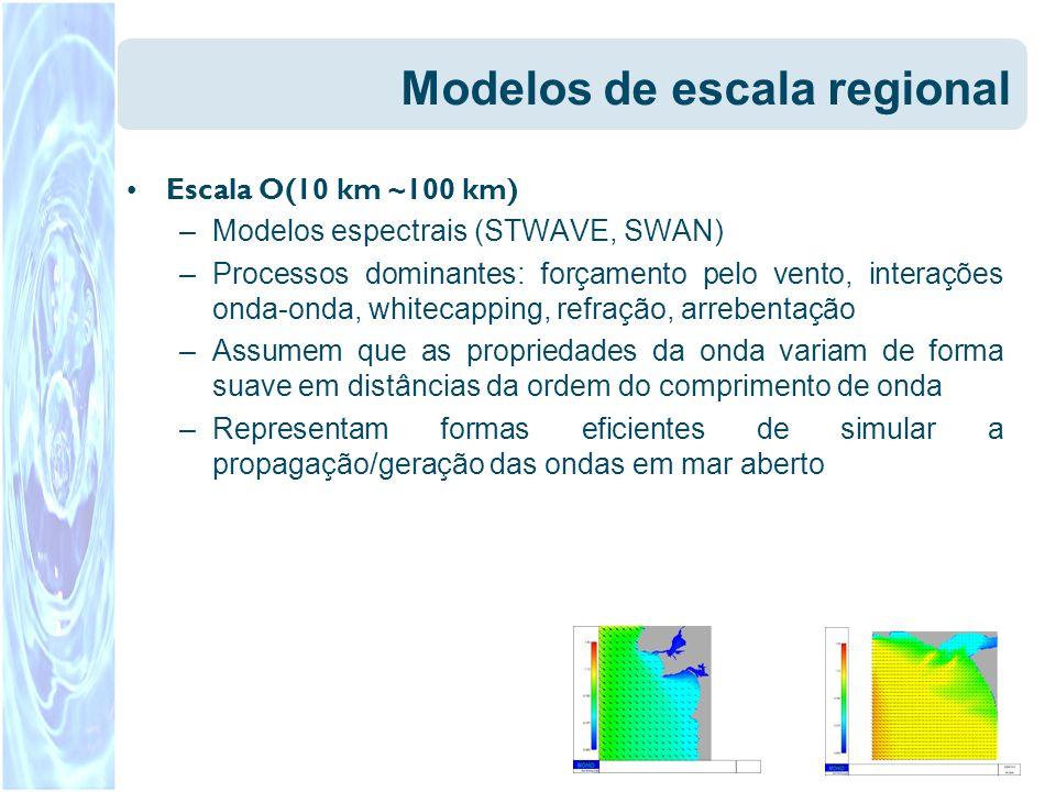 Modelos de escala regional Escala O(10 km ~100 km) –Modelos espectrais (STWAVE, SWAN) –Processos dominantes: forçamento pelo vento, interações onda-on