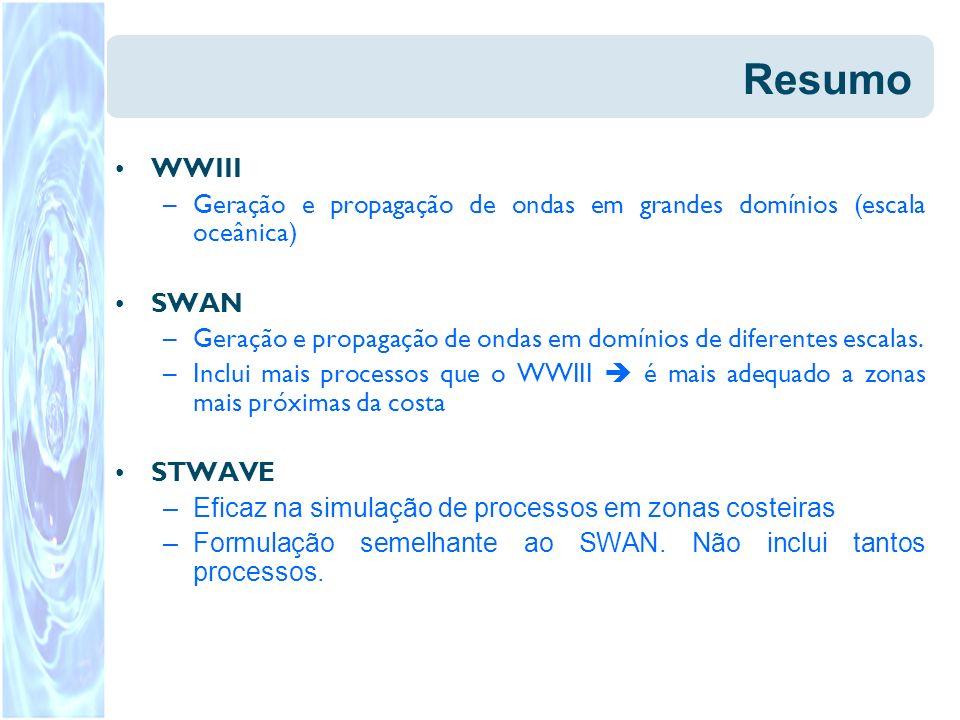 Resumo WWIII –Geração e propagação de ondas em grandes domínios (escala oceânica) SWAN –Geração e propagação de ondas em domínios de diferentes escala