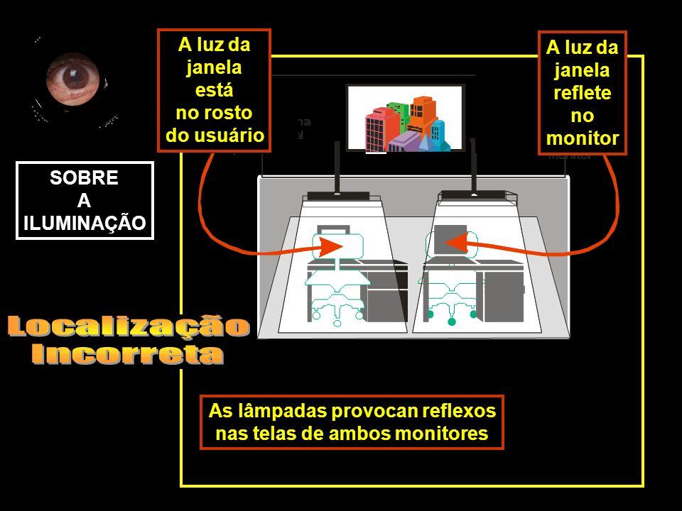 As lâmpadas provocan reflexos nas telas de ambos monitores SOBRE A ILUMINAÇÃO A luz da janela reflete no monitor A luz da janela está no rosto do usuá