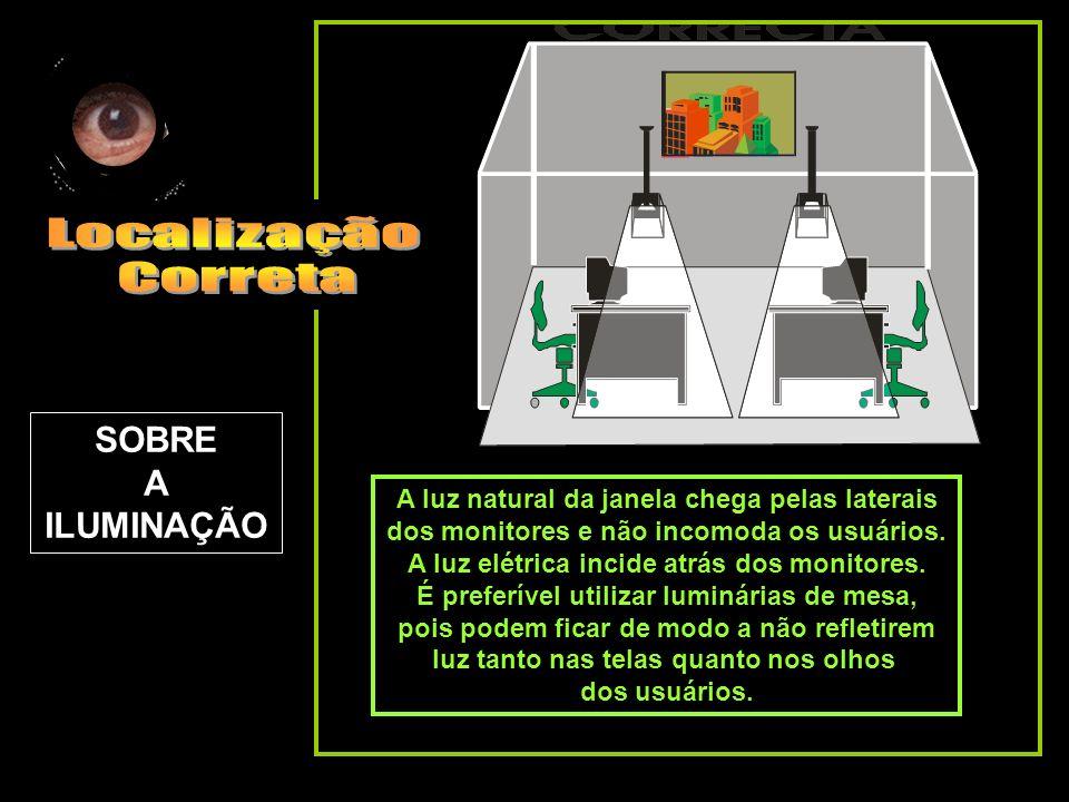 A luz natural da janela chega pelas laterais dos monitores e não incomoda os usuários. A luz elétrica incide atrás dos monitores. É preferível utiliza