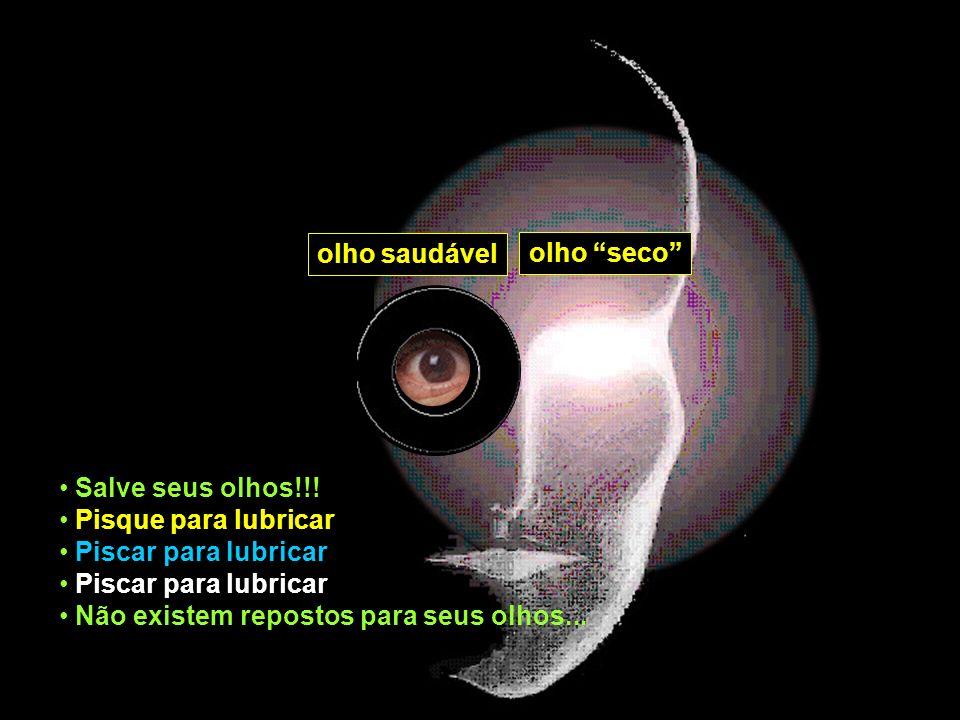 olho saudável olho seco Salve seus olhos!!! Pisque para lubricar Piscar para lubricar Não existem repostos para seus olhos...