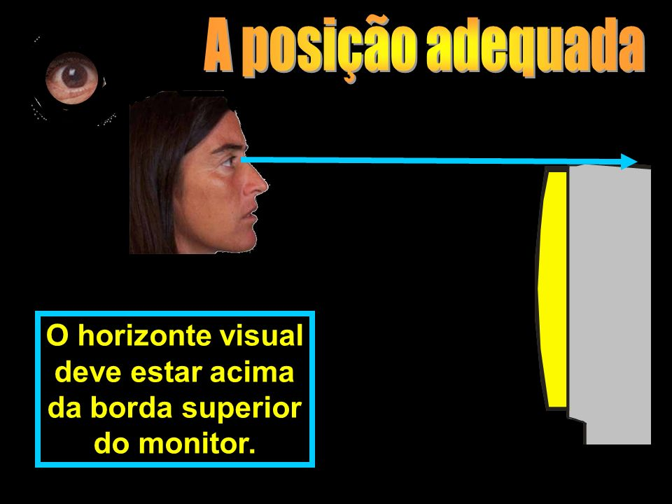 O horizonte visual deve estar acima da borda superior do monitor.