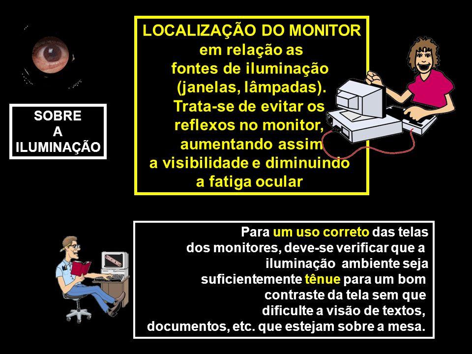 LOCALIZAÇÃO DO MONITOR em relação as fontes de iluminação (janelas, lâmpadas). Trata-se de evitar os reflexos no monitor, aumentando assim a visibilid