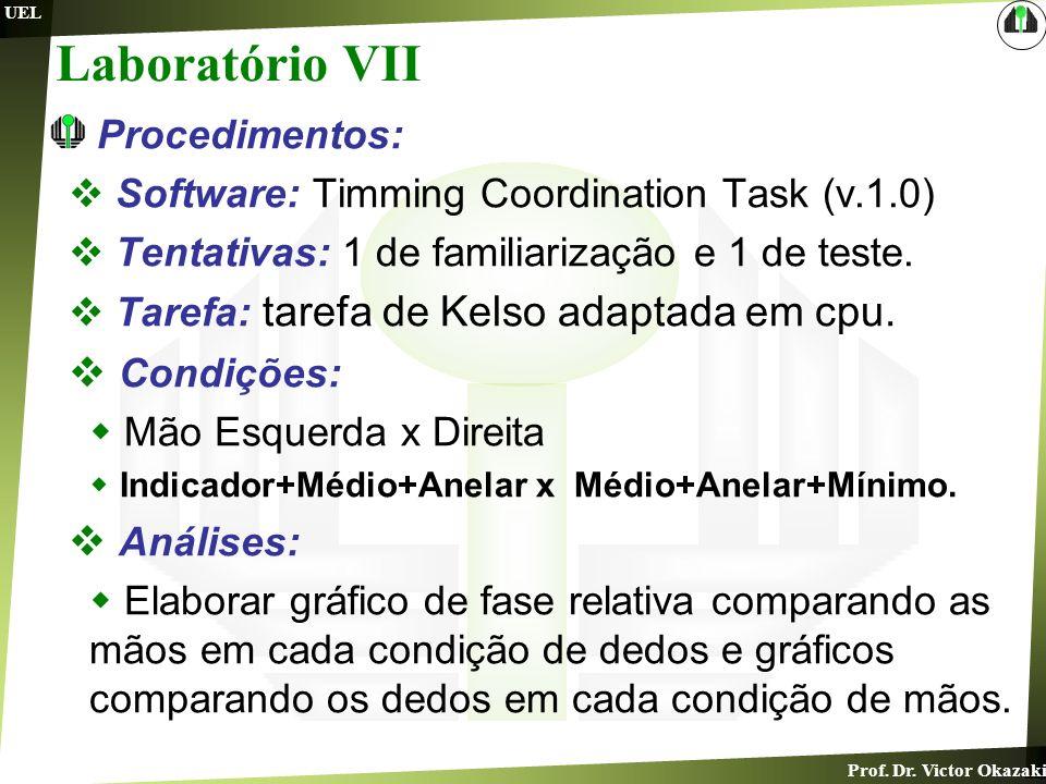 Prof. Dr. Victor Okazaki UEL Laboratório VII Procedimentos: Software: Timming Coordination Task (v.1.0) Tentativas: 1 de familiarização e 1 de teste.