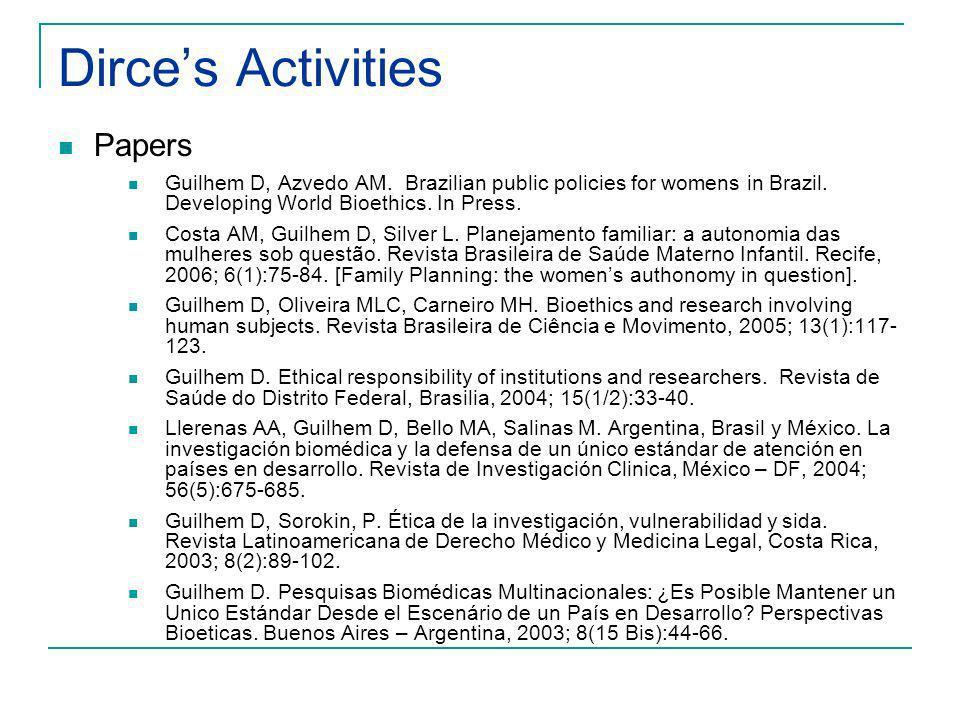 Dirces Activities Papers Guilhem D, Azvedo AM.Brazilian public policies for womens in Brazil.
