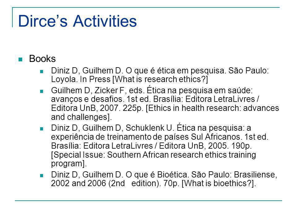 Dirces Activities Chapter of Books Guilhem D, Zicker F.