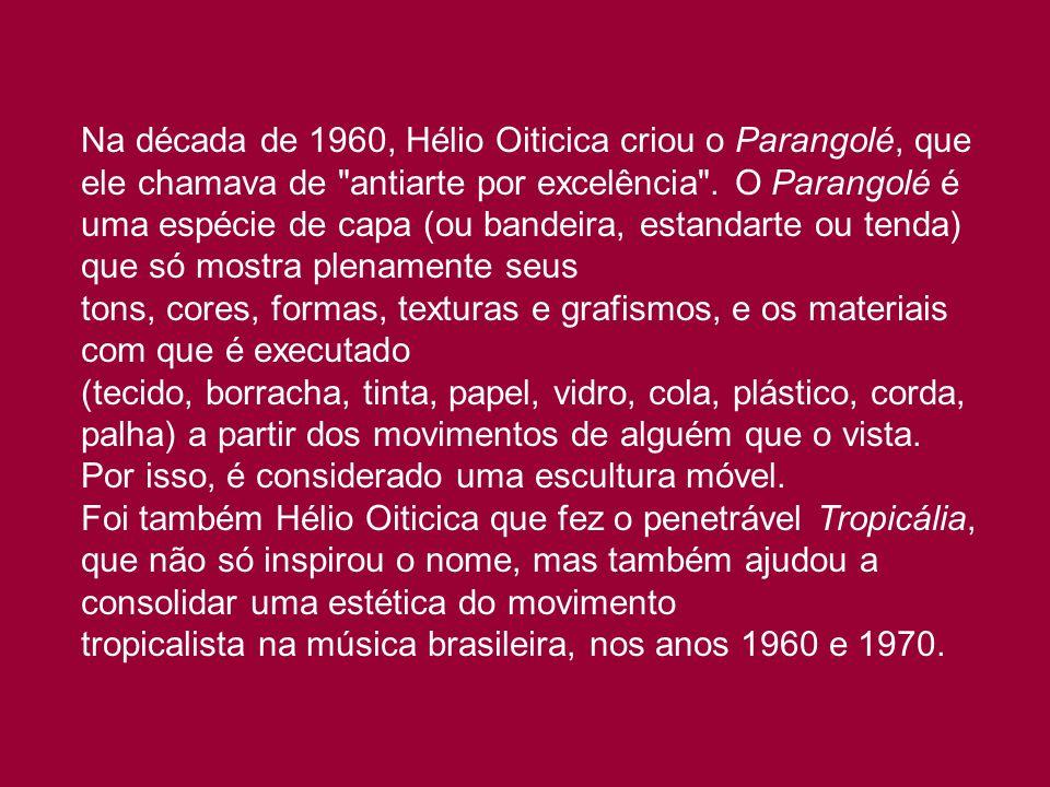 Na década de 1960, Hélio Oiticica criou o Parangolé, que ele chamava de