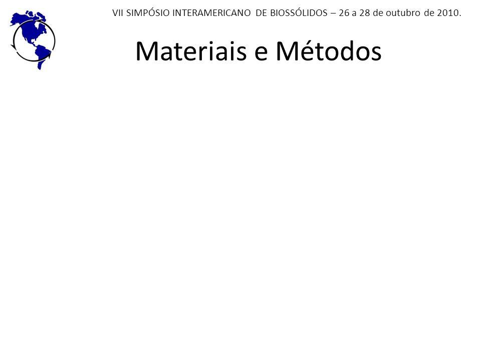Materiais e Métodos VII SIMPÓSIO INTERAMERICANO DE BIOSSÓLIDOS – 26 a 28 de outubro de 2010.