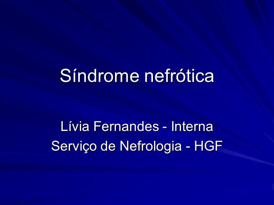 Síndrome nefrótica Conjunto de sinais, sintomas e achados laboratoriais secundários à proteinúria maciça Proteinúria > 3,5g/dia (adultos) > 50mg/kg/dia (crianças) > 50mg/kg/dia (crianças)HipoproteinemiaEdemaHiperlipidemia/lipidúria