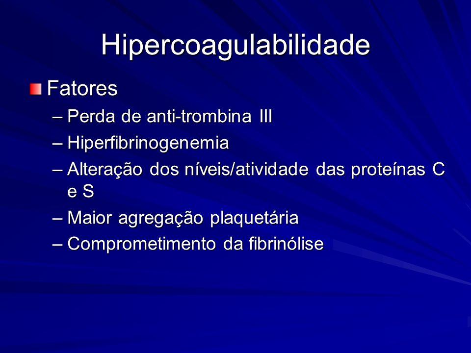 Hipercoagulabilidade Fatores –Perda de anti-trombina III –Hiperfibrinogenemia –Alteração dos níveis/atividade das proteínas C e S –Maior agregação pla