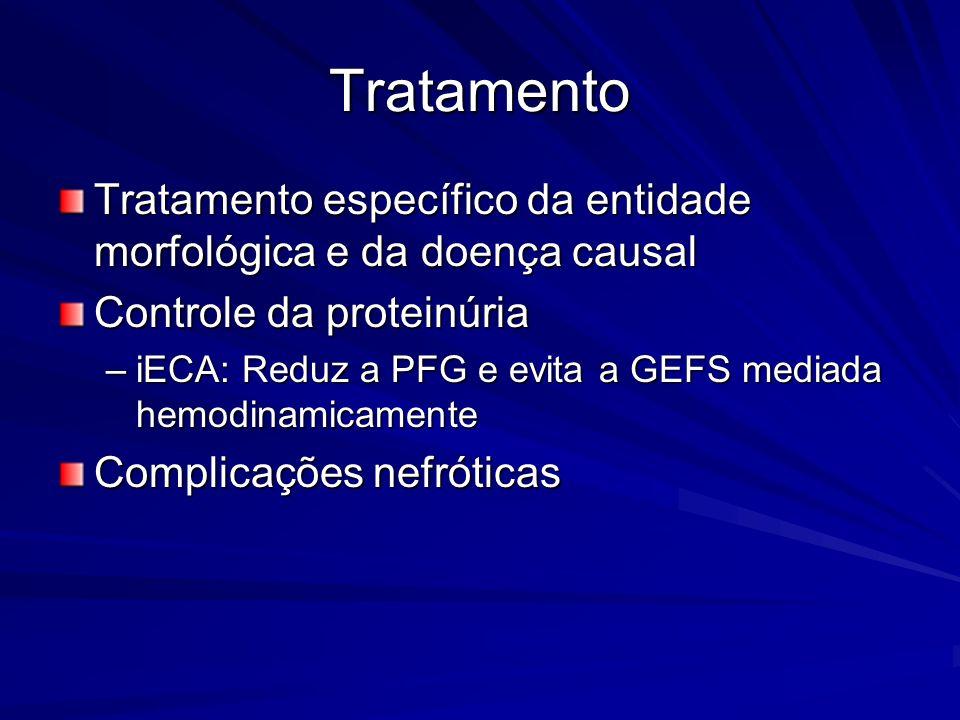 Tratamento Tratamento específico da entidade morfológica e da doença causal Controle da proteinúria –iECA: Reduz a PFG e evita a GEFS mediada hemodina