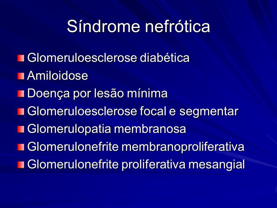 Síndrome nefrótica Glomeruloesclerose diabética Amiloidose Doença por lesão mínima Glomeruloesclerose focal e segmentar Glomerulopatia membranosa Glom