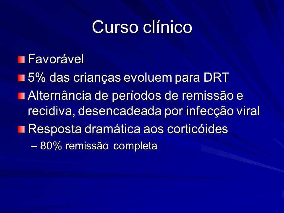 Curso clínico Favorável 5% das crianças evoluem para DRT Alternância de períodos de remissão e recidiva, desencadeada por infecção viral Resposta dram